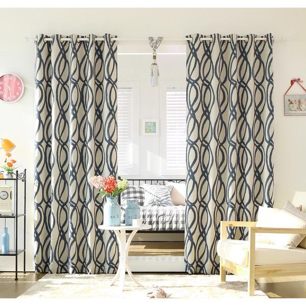 Aurora Home Wave Room Darkening Grommet Top 84 Inch Curtain Panel Pair
