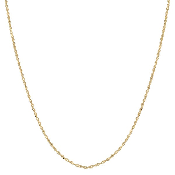 Fremada 14k Yellow Gold 0.9-mm Sparkle Singapore Chain Necklace (16 - 20 inches)
