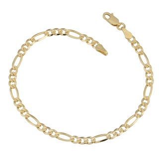 Fremada 14k Yellow Gold 3.9-mm High Polish Figaro Link Bracelet (8 inches)