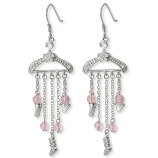 Avanti Sterling Silver Pink Cubic Zirconia Hanger Drop Earrings