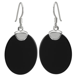 Avanti Sterling Silver Black Onyx Oval Dangle Earrings