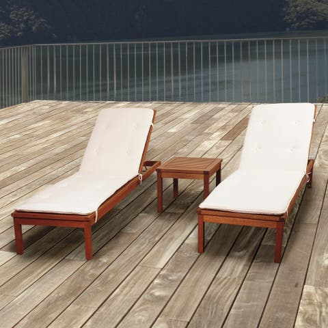 Amazonia Pacific 3-piece Wheel Lounger Set with White Cushions