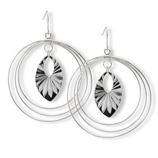 Avanti Sterling Silver Large Round Dangle Earrings