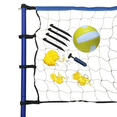 Portable Volleyball Net/ Posts/ Ball and Pump Set - Multi
