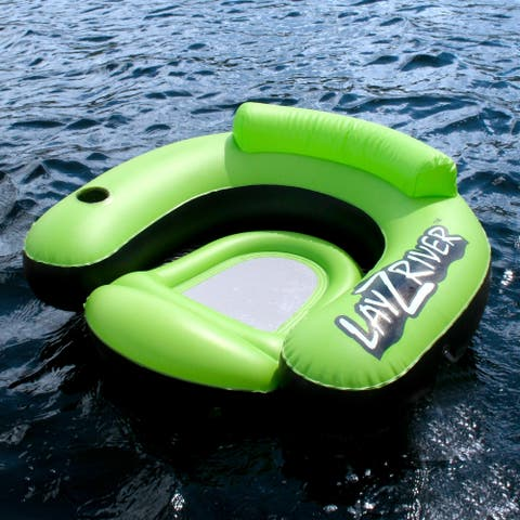 LayZRiver Inflatable Swim Lounge River Float - Black/Green