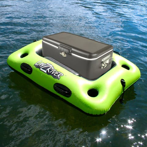 LayZRiver 44-in x 33-in Inflatable Swim Cooler Float - Black/Green