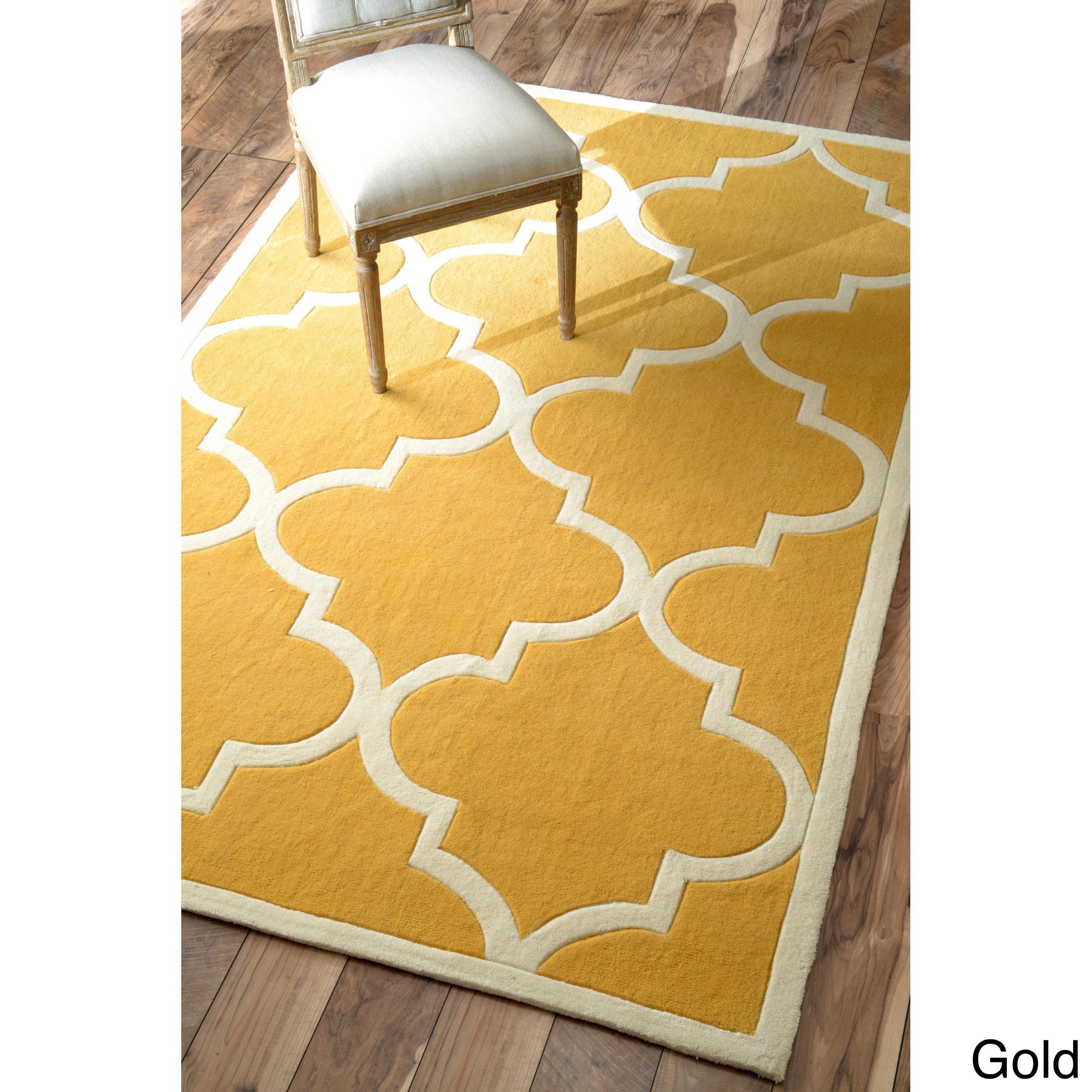 nuLOOM Handmade Luna Moroccan Trellis Gold Rug (5' x 8') ...