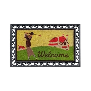 First Impression Golf Coco Rubber Welcome Tray Mat (2' x 3')