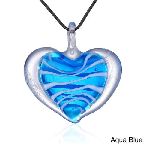 Candy Heart Murano-style Glass Pendant Necklace