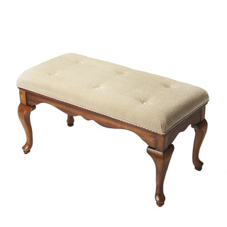 Queen Anne Olive Ash Burl Upholstered Bench