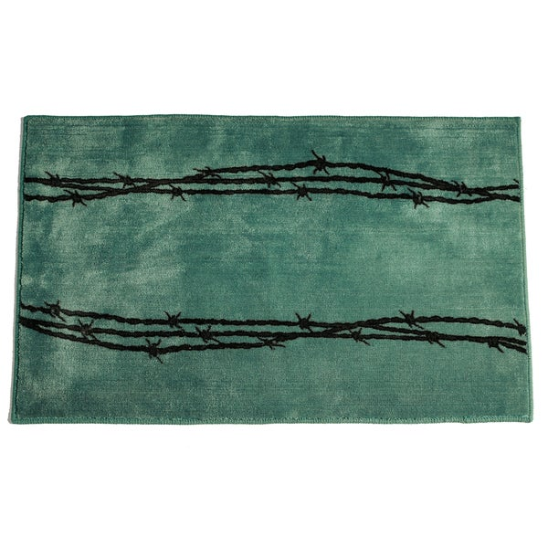 HiEnd Accents Barbwire Print Turquoise Acrylic Rug 24x36 Rug - 24 x 36