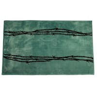HiEnd Accents Barbwire Print Turquoise Acrylic Rug 24x36 Rug