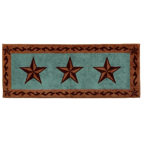 HiEnd Accents Star Print Turquoise 24x60 Acrylic Rug - 24 x 60