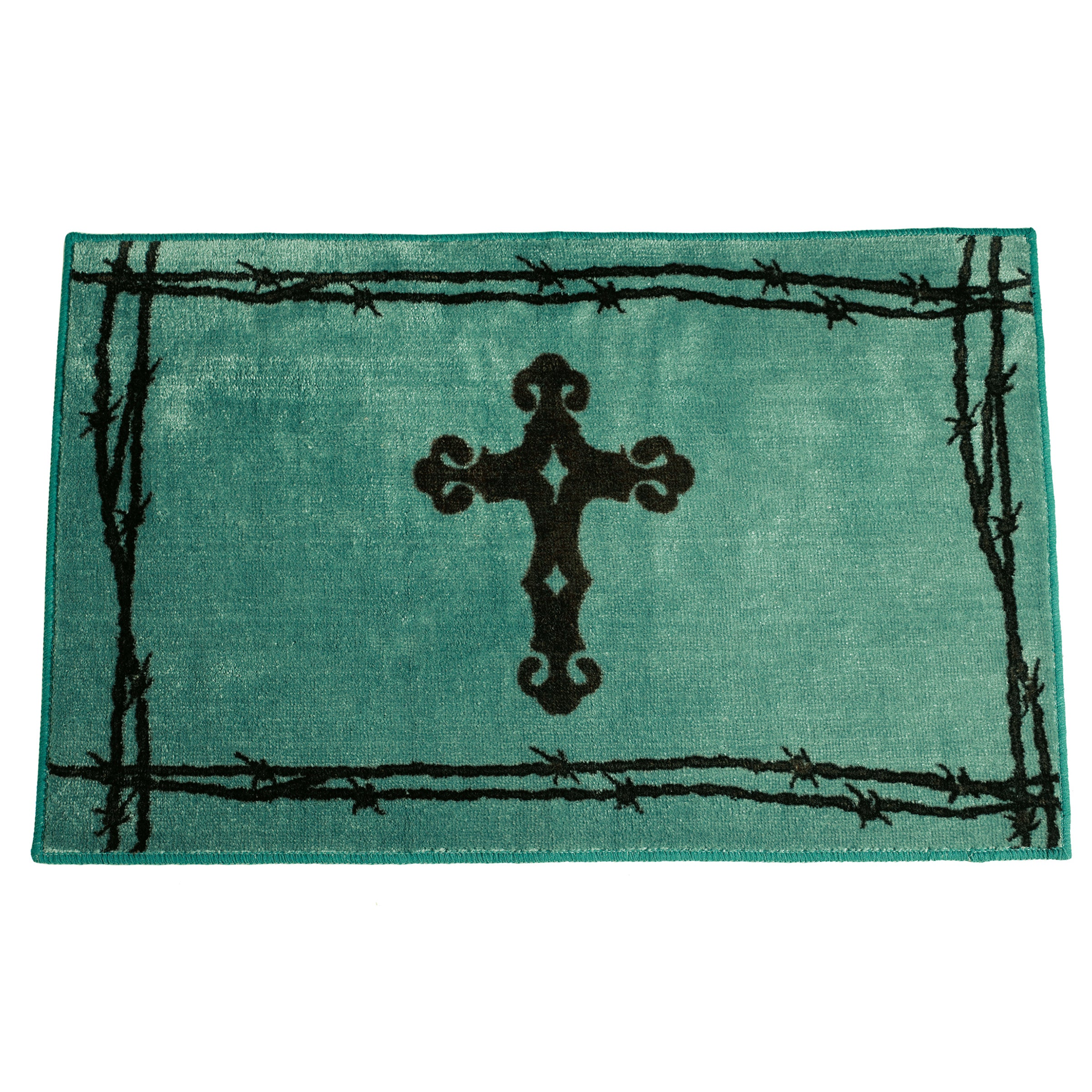 HiEnd Accents Cross Print Turquoise Acrylic 24x36 Rug (Br...