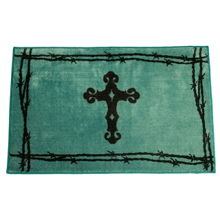 HiEnd Accents Cross Print Turquoise Acrylic 24x36 Rug
