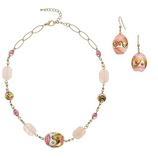 Alexa Starr Goldtone Venetian Bead Rose Quartz 2-piece Jewelry Set