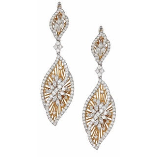 18k Two-tone Gold 4 4/5ct TDW Diamond Dangle Earrings (H-I, VVS1-VVS2)