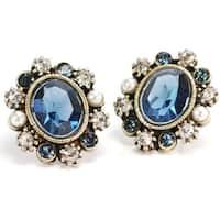 Sweet Romance Oval Swarovski Element Crystal Mood Stud Earrings