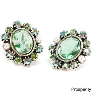Sweet Romance Oval Swarovski Crystal Mood Stud Earrings