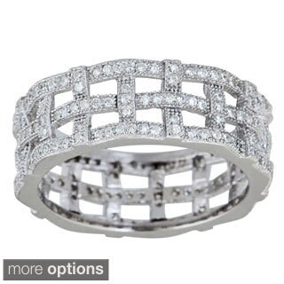 Decadence Sterling Silver Micropave Cubic Zirconia Woven Eternity Ring