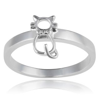 Journee Collection Sterling Silver Cat Ring