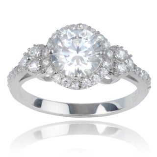 Journee Collection Sterling Silver Round Cubic Zirconia Engagement Ring