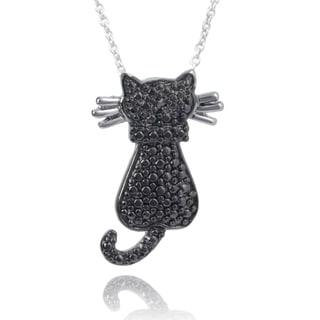 Journee Collection Brass Diamond Accent Cat Pendant