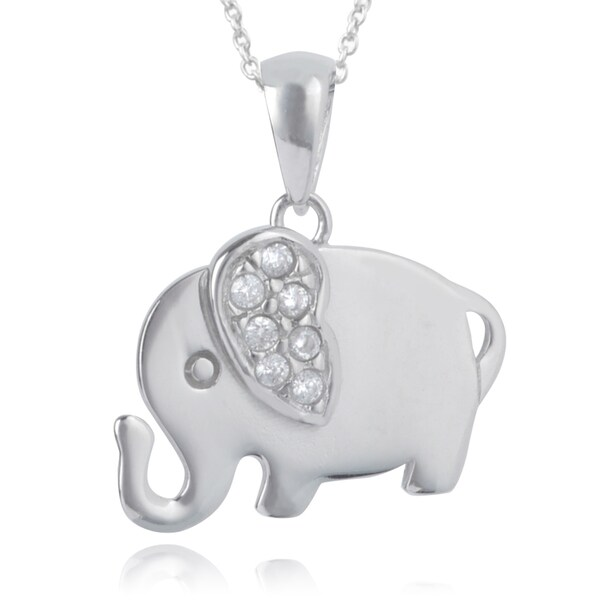 Journee Collection Sterling Silver Cubic Zirconia Elephant Pendant
