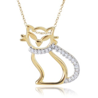 Journee Collection Sterling Silver Cubic Zirconia Cat Pendant