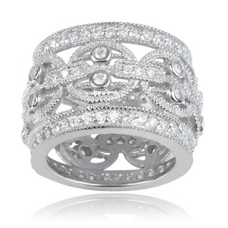 Journee Collection Sterling Silver Cubic Zirconia 16mm Wide Band