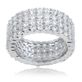 Journee Collection Sterling Silver Cubic Zirconia 4 Connected 9 mm Bands