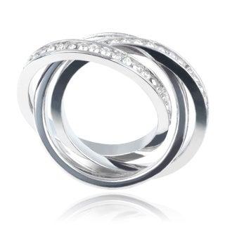 Journee Collection Sterling Silver Cubic Zirconia Three Interlocking Eternity Wedding 3mm Band Ring