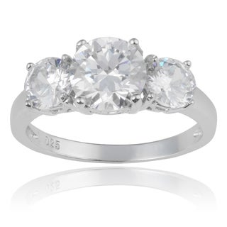 Journee Collection Sterling Silver Cubic Zirconia 3-stone Engagement Ring