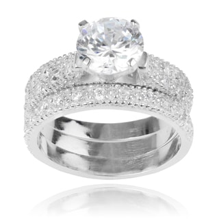 Journee Collection Sterling Silver Round Cubic Zirconia Engagement Set