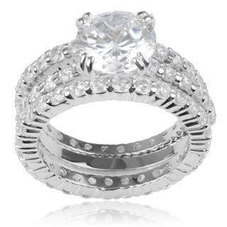 Journee Collection Sterling Silver White Cubic Zirconia Engagement Set