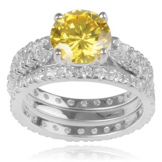 Journee Collection Sterling Silver Yellow Cubic Zirconia Engagment Set