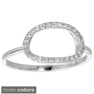 Decadence Sterling Silver Micropave Cubic Zirconia Oval Cutout Ring