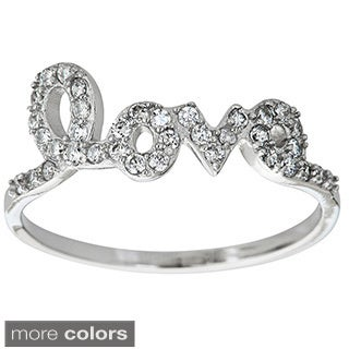 Decadence Sterling Silver Micropave Cubic Zirconia 'Love' Ring