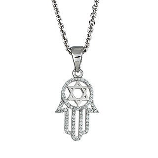 Decadence Sterling Silver Micropave Cubic Zirconia Hamsa Necklace