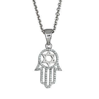 Decadence Sterling Silver Micropave Cubic Zirconia Hamsa Necklace|https://ak1.ostkcdn.com/images/products/10052221/P17196270.jpg?impolicy=medium