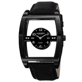 Akribos XXIV Men's Swiss Quartz Transparent Sunray Dial Leather Black Strap Watch