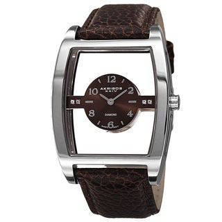 Akribos XXIV Men's Swiss Quartz Transparent Sunray Dial Leather Silver-Tone Strap Watch