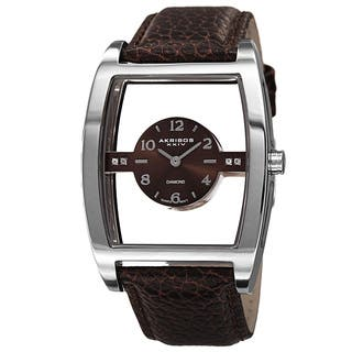 Akribos XXIV Men's Swiss Quartz Transparent Sunray Dial Leather Silver-Tone Strap Watch with FREE GIFT|https://ak1.ostkcdn.com/images/products/10052453/P17196459.jpg?impolicy=medium