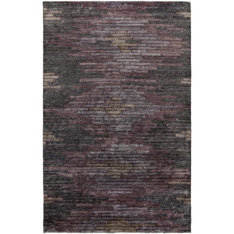 Hand-Knotted Arely Geometric Viscose Area Rug