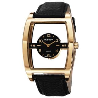 Akribos XXIV Men's Swiss Quartz Transparent Sunray Dial Leather Gold-Tone Strap Watch with FREE GIFT|https://ak1.ostkcdn.com/images/products/10052456/P17196460.jpg?impolicy=medium