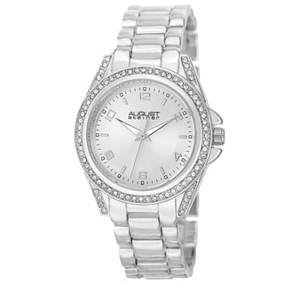 August Steiner Women's Quartz Crystal-Accented Bezel Silver-Tone Bracelet Watch