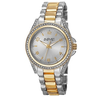 August Steiner Women's Quartz Crystal-Accented Bezel Two-Tone Bracelet Watch