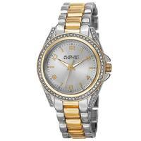 August Steiner Women's Quartz Crystal-Accented Bezel Two-Tone Bracelet Watch