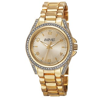 August Steiner Women's Quartz Crystal-Accented Bezel Gold-Tone Bracelet Watch
