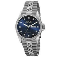 August Steiner Men's Quartz Diamond Accent Markers Stainless Steel Blue Bracelet Watch